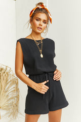 Cannes Knit Playsuit (Black)