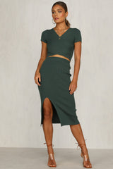 Falling Hard Knit Skirt (Emerald)