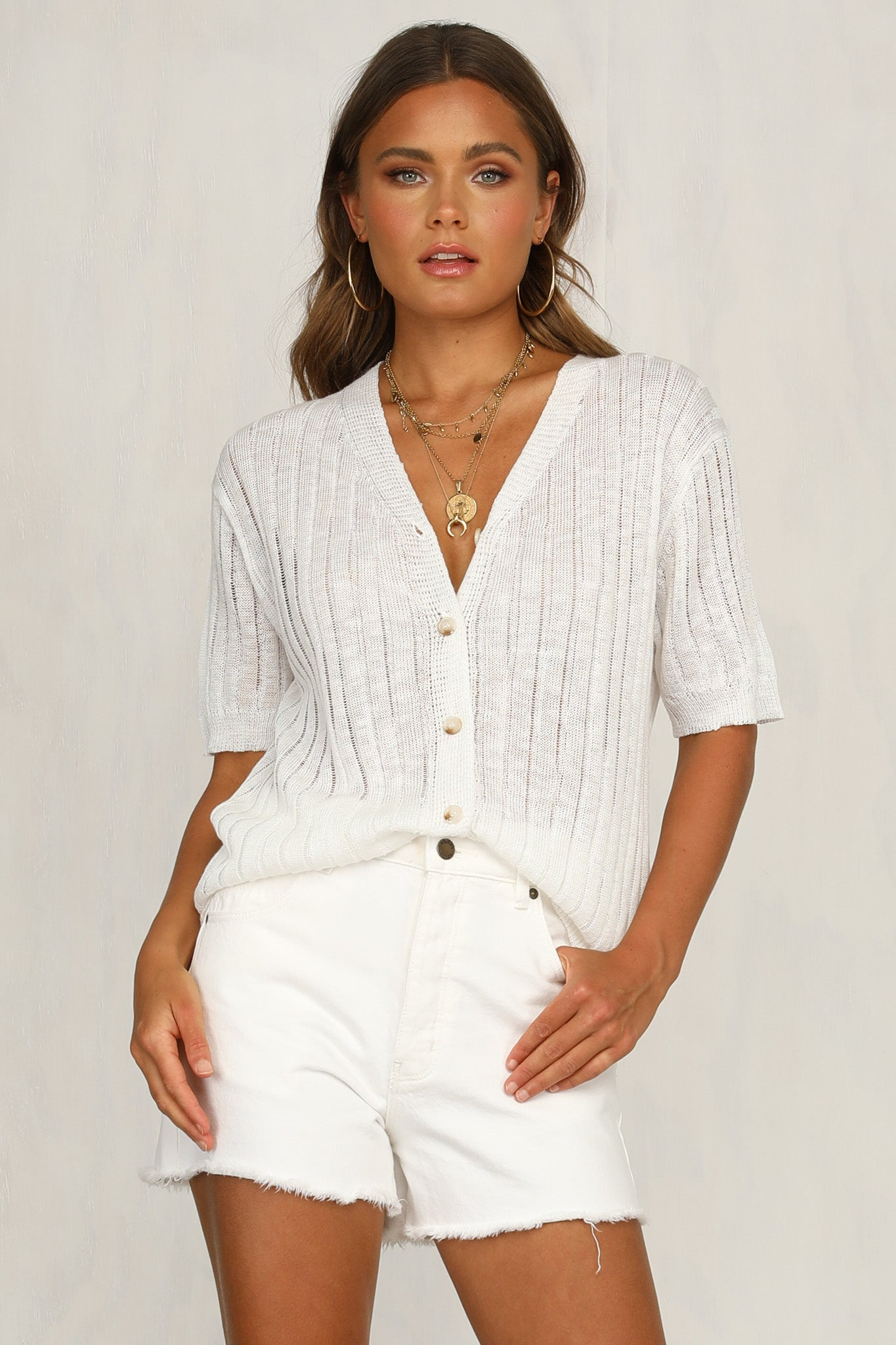 Open Up Knit Top (Ivory)