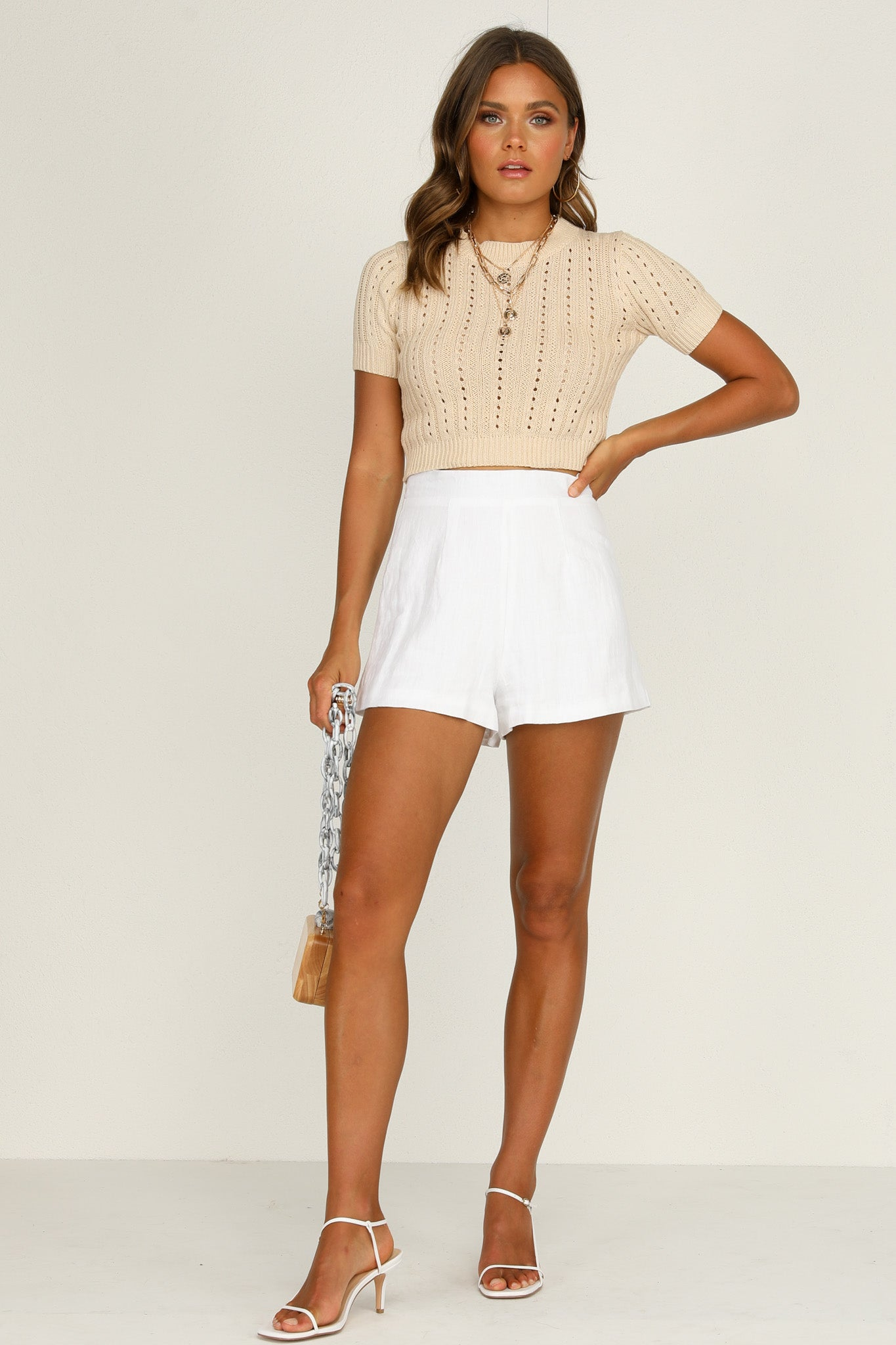 Rolling In Knit Top (Beige)
