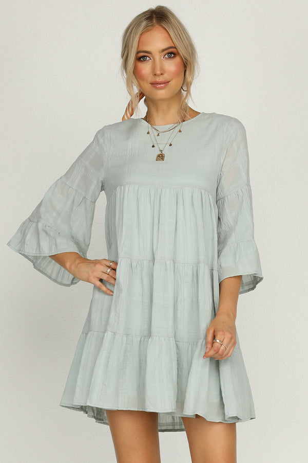 bump friendly dress Smock dress in mint