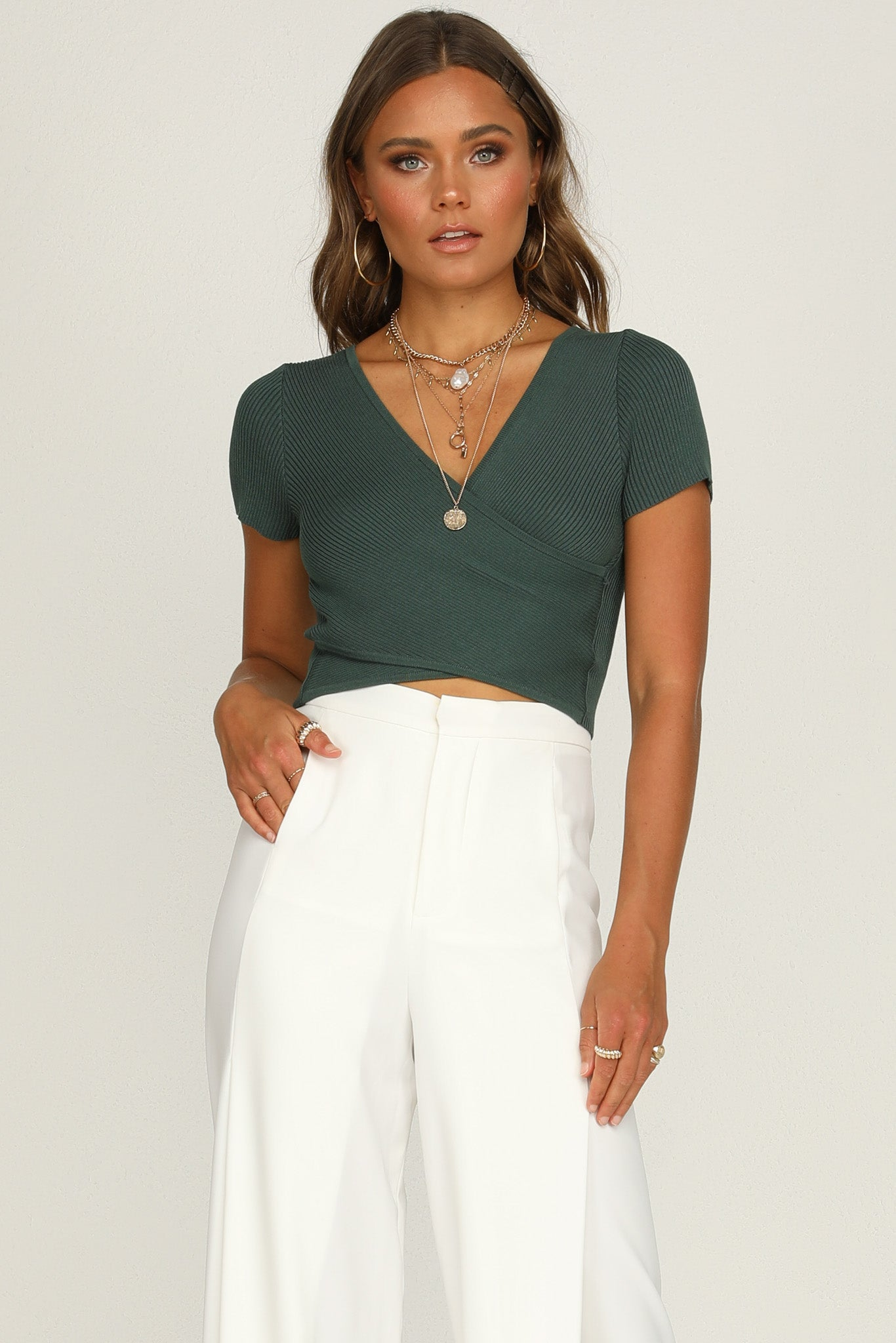 Falling Hard Knit Top (Emerald)