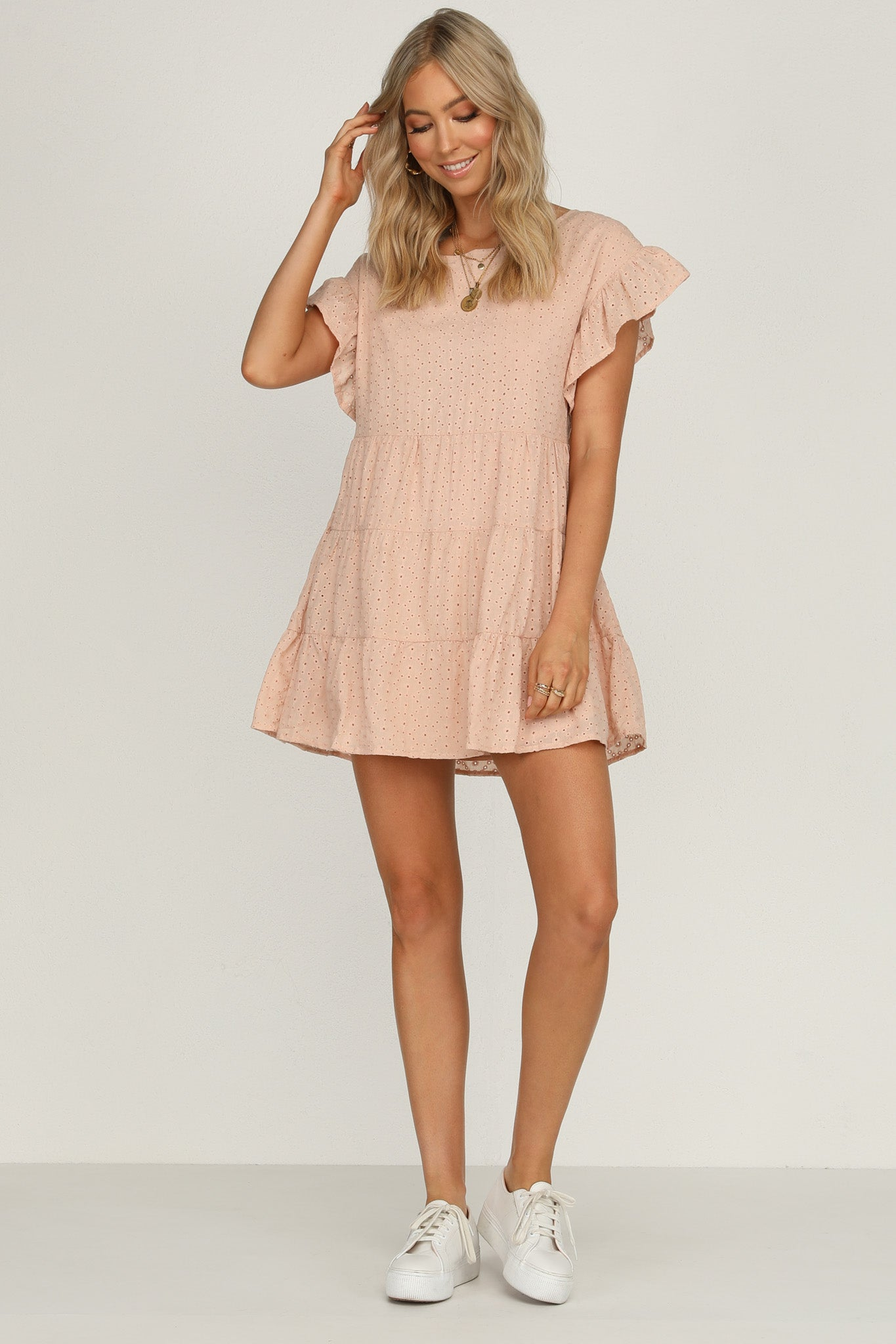 halcyon heart dress pink relaxed fit