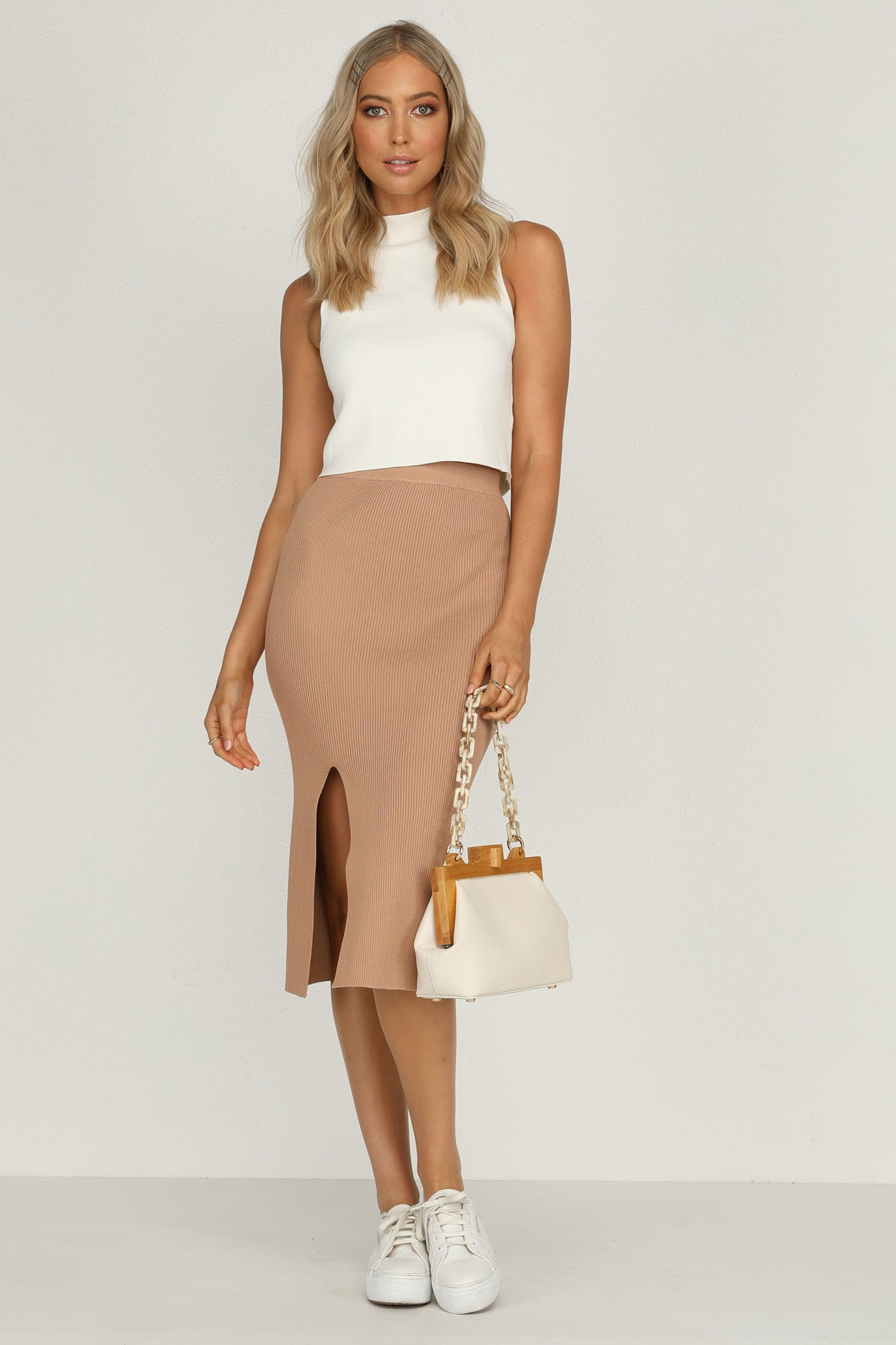 Falling Hard Knit Skirt (Tan)