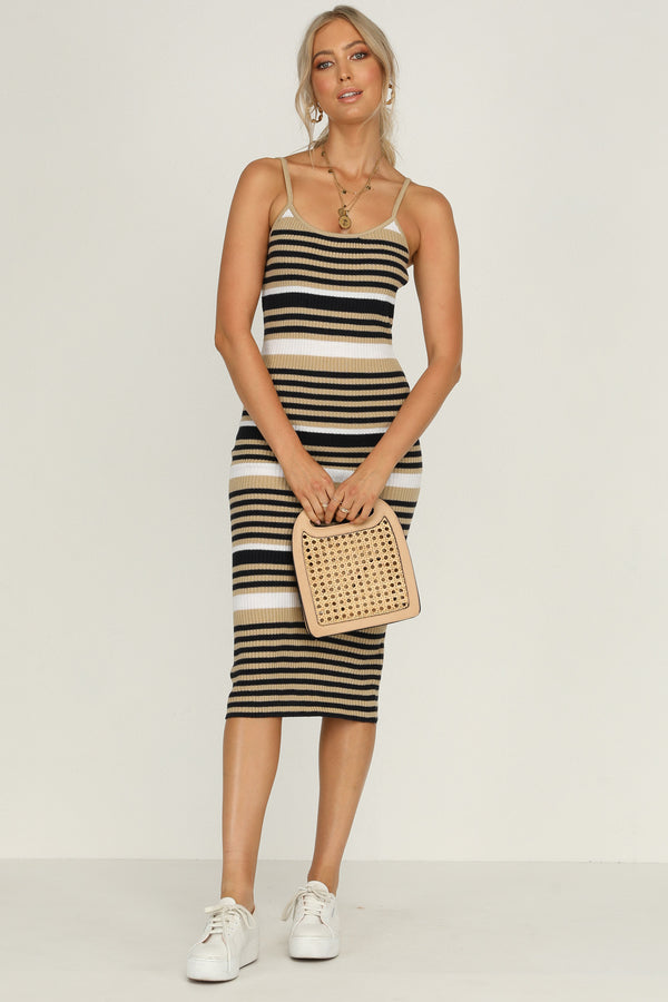 andrea knit stripe dress midi length