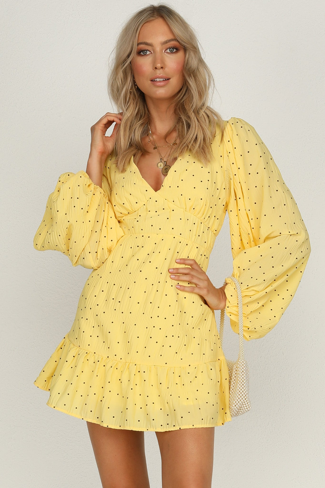 runaway bay dress (yellow) v-neckline