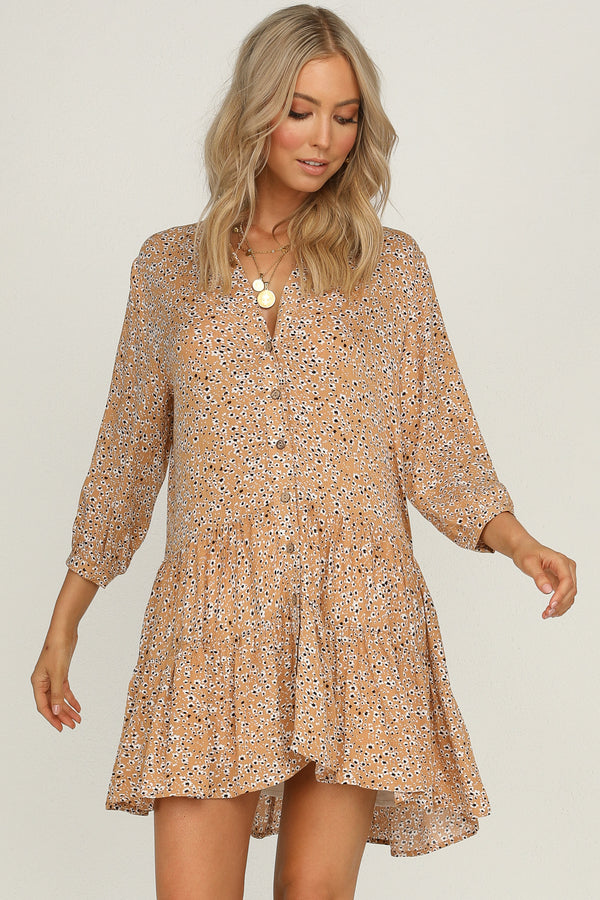 ride of life tan floral print dress
