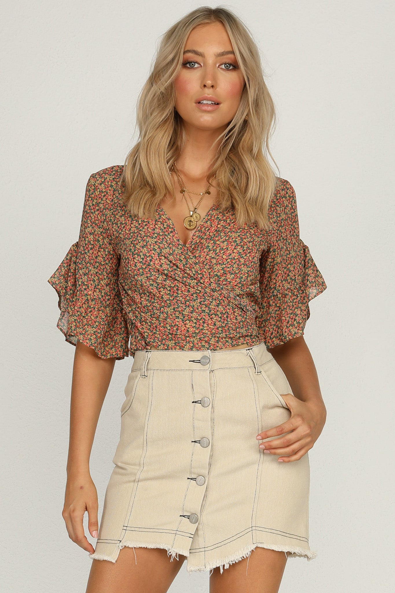 Discovery Top (Green Floral)
