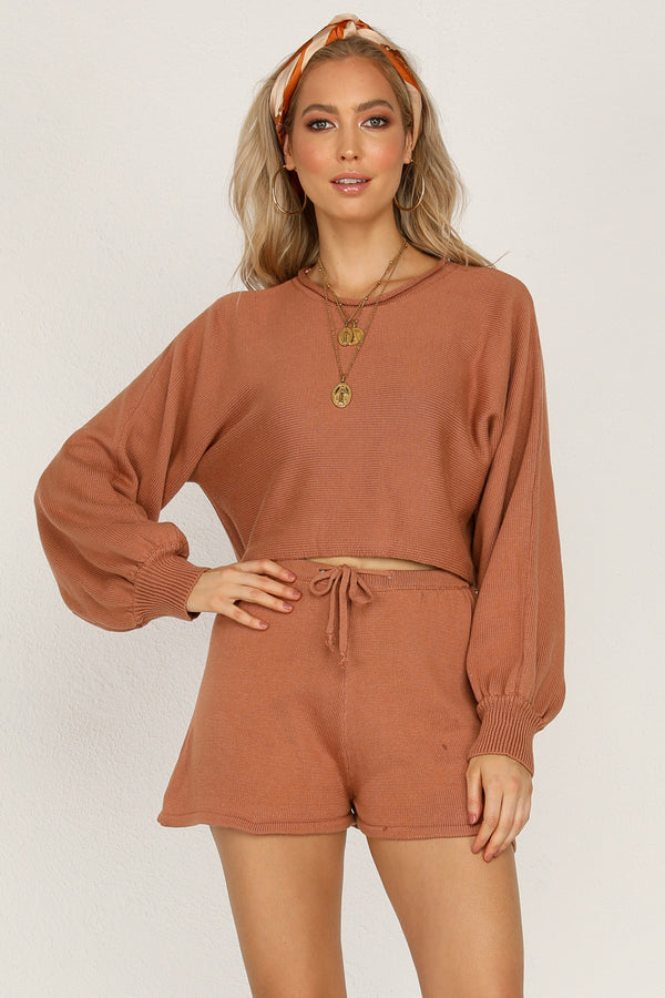 Chantelle Knit Shorts (Rust)