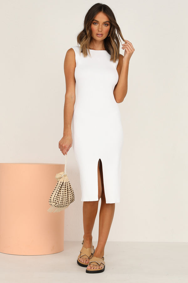 Cloud Nine Ribbed Dress (White)