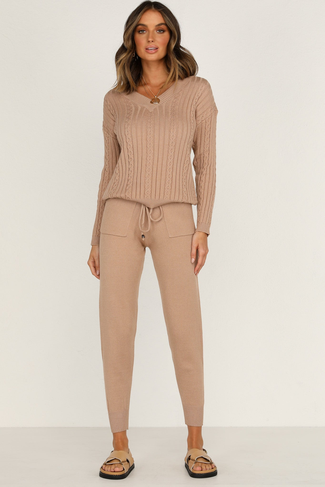 Delia Knit Top (Tan)