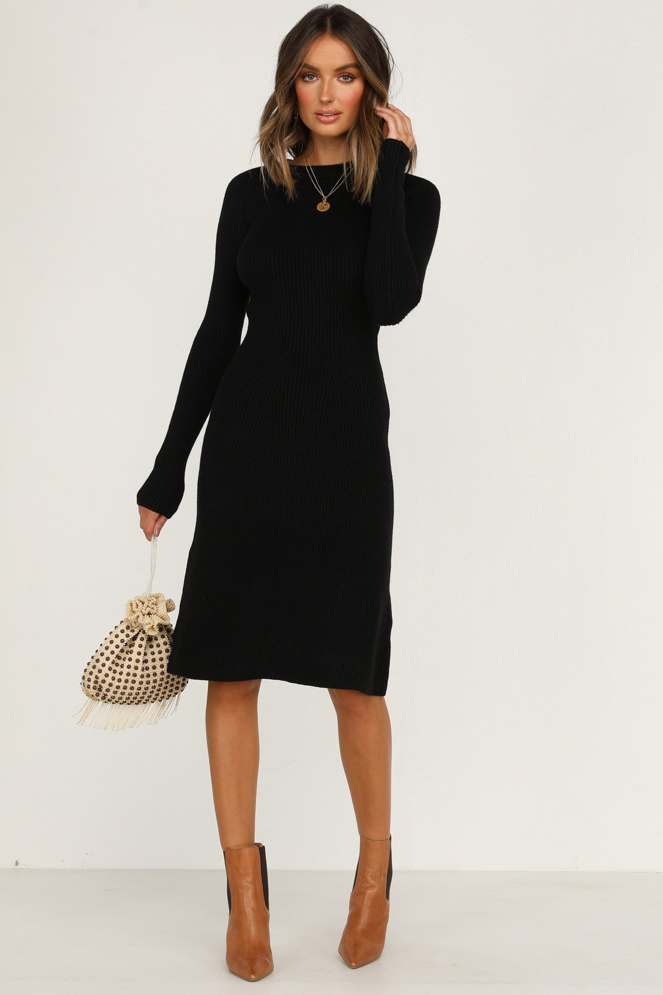 Marquise Knit Dress (Black)