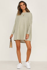 Lucy Tee Dress (Khaki Stripe)