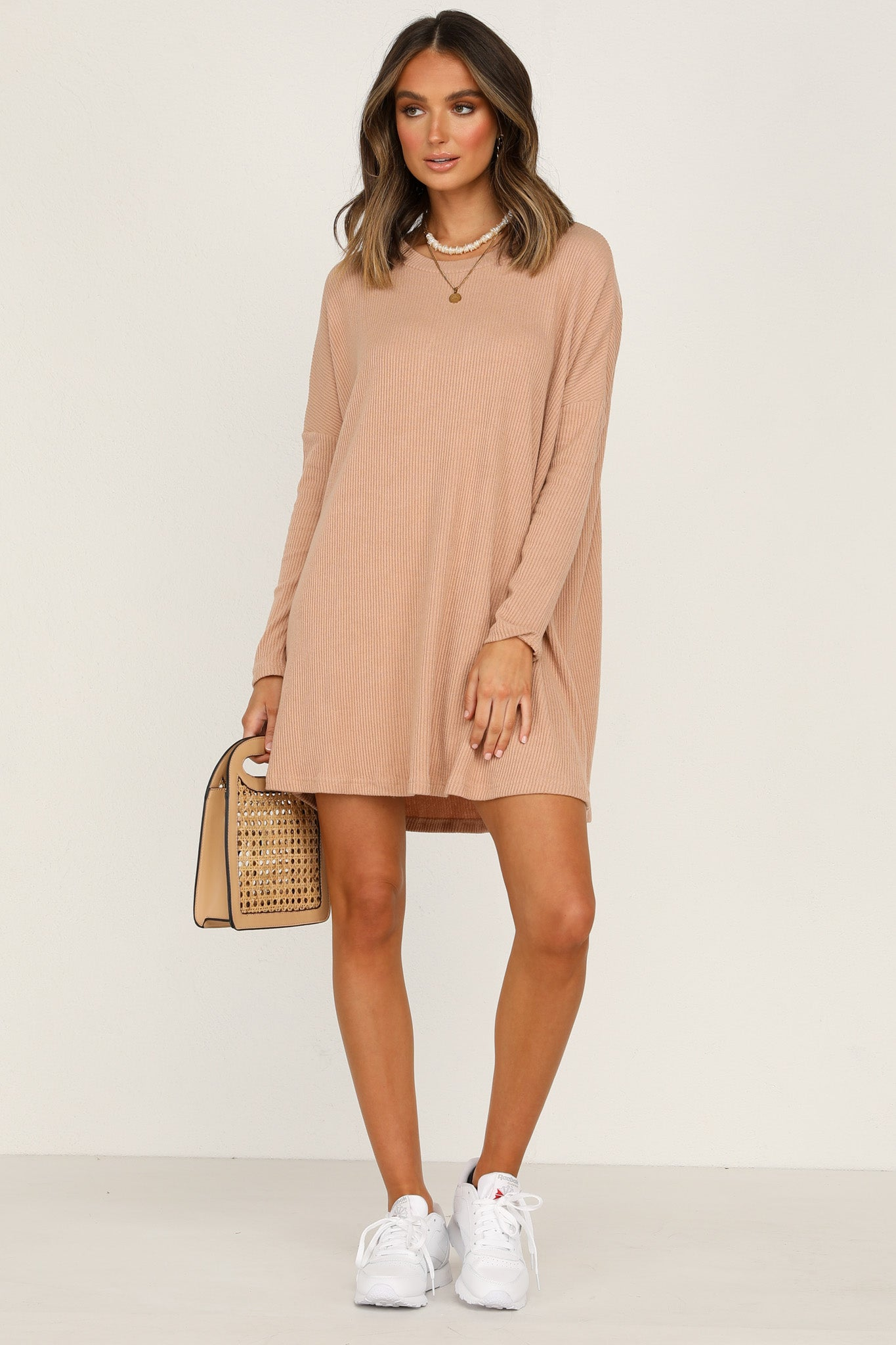 Ribbed Lucy Tee Dress (Tan)
