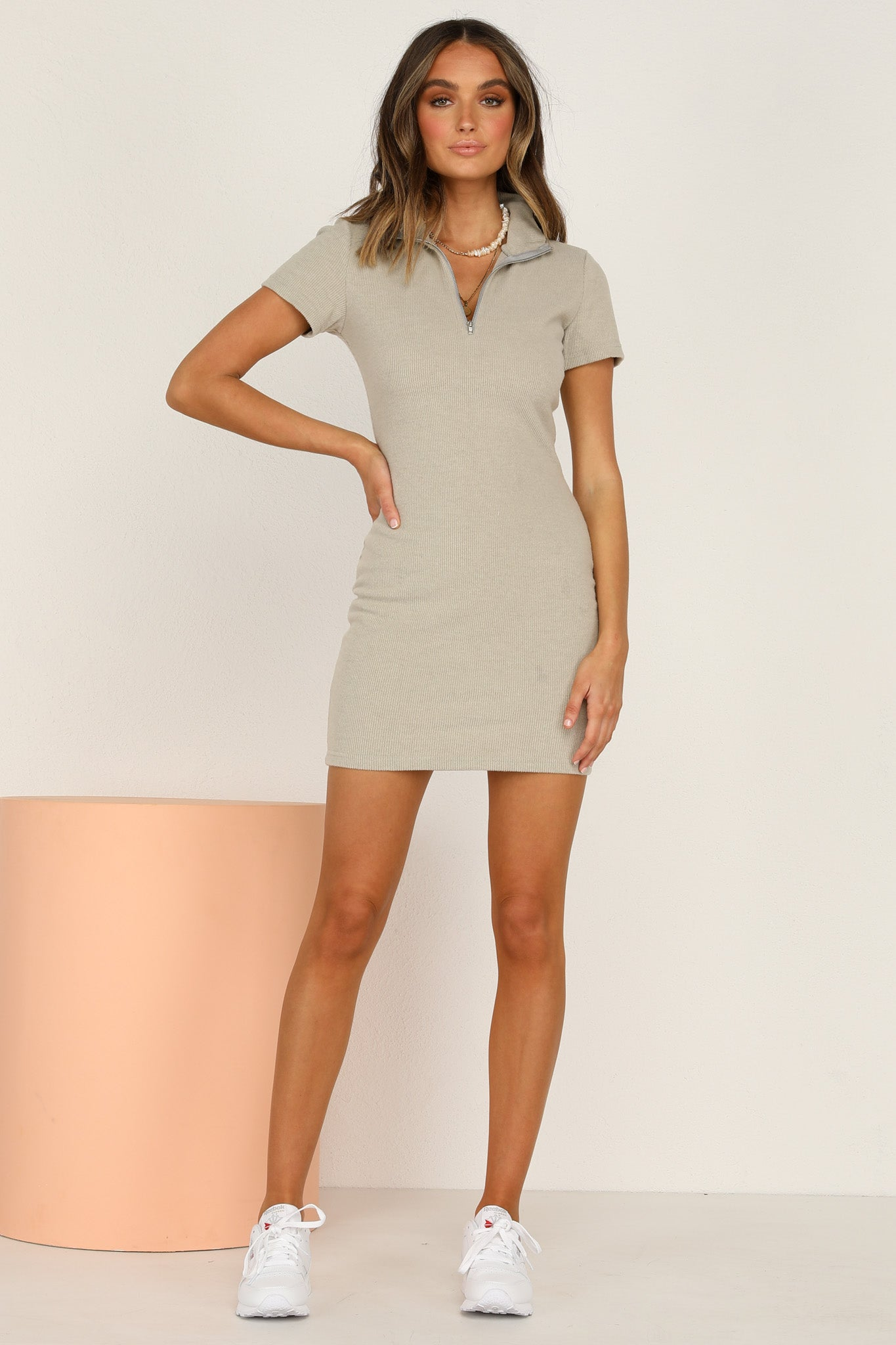 Double Down Dress (Khaki)