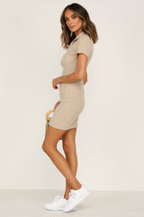 Double Down Dress (Beige)