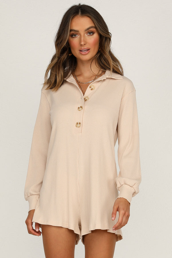 Between The Lines Playsuit (Beige)