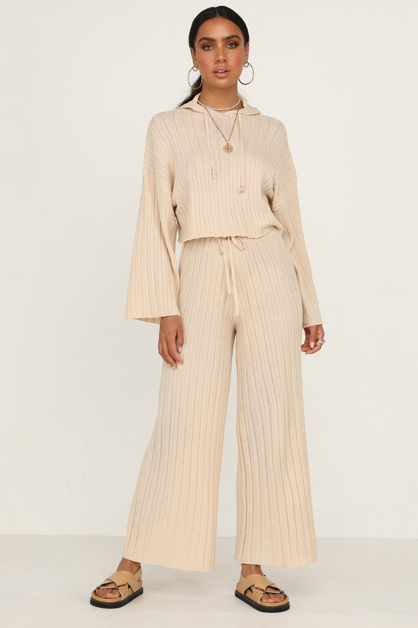 Baha Ribbed Knit Pants (Beige)