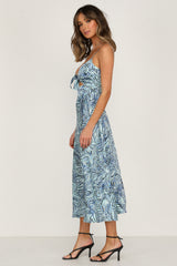 Golden Blooms Dress (Blue Palm)