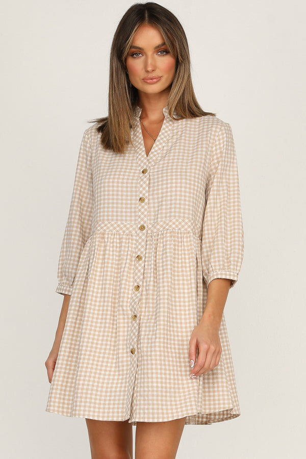 Arden Dress (Beige Check)