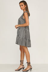 Santos Dress (Black Gingham)