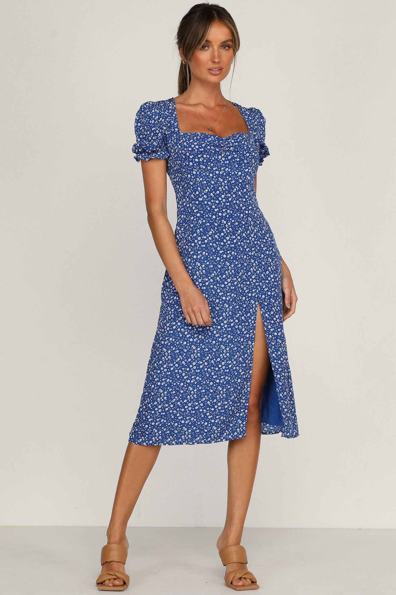 Crossed Signals Dress (Blue Floral)