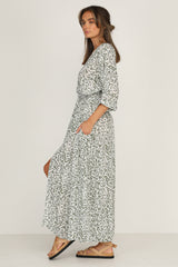Verity Maxi Dress (Leaf Print)