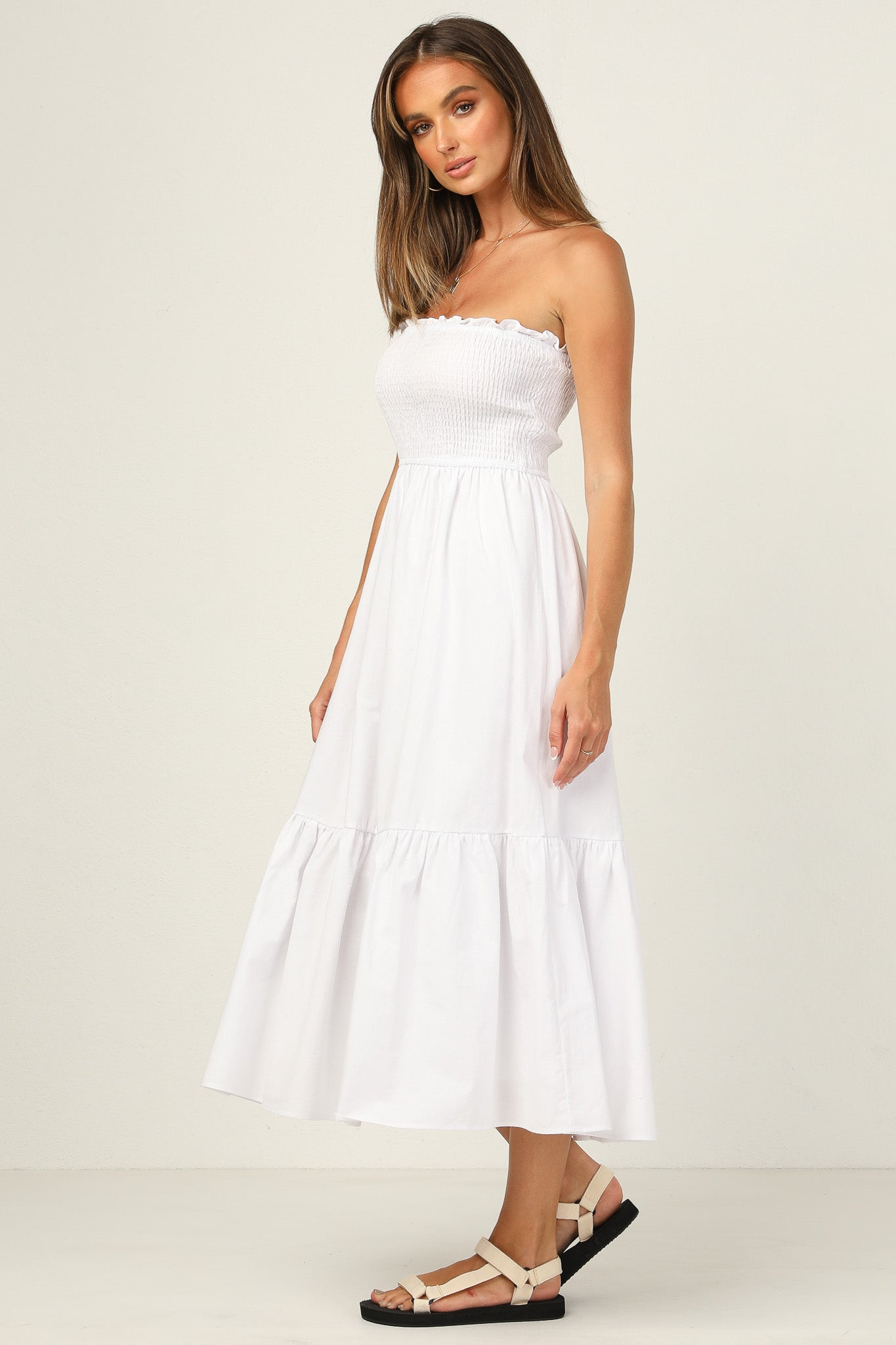 Geneva Strapless Dress (White)
