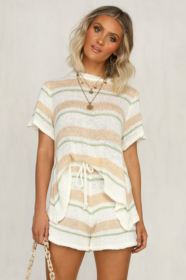 Bay Watch Knit Set (Multi Stripe)