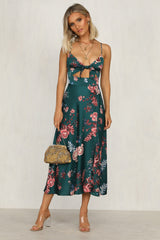 Golden Blooms Dress (Teal)