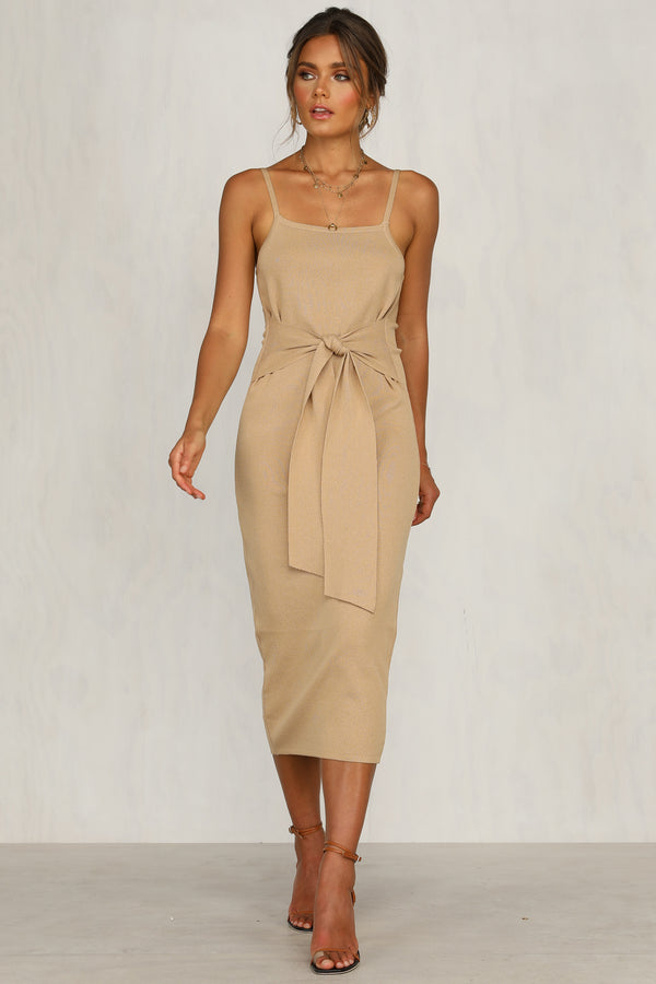 Scope You Out Dress (Beige)