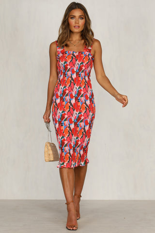 Cayman Dress (Red Floral)