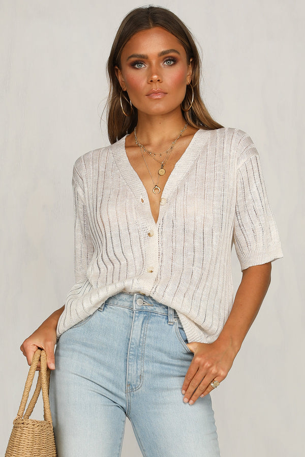 Open Up Knit Top (Beige)