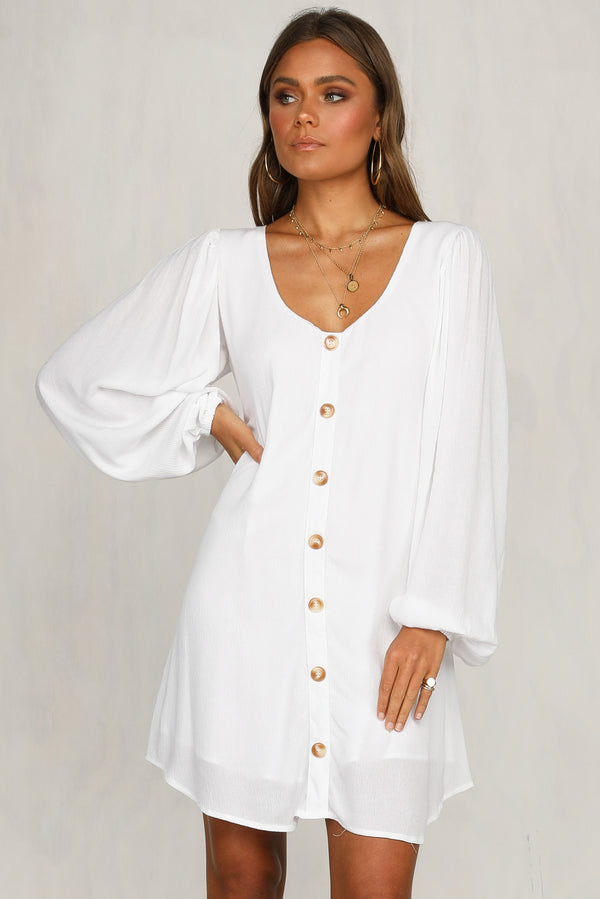 Border Lines Dress (White)