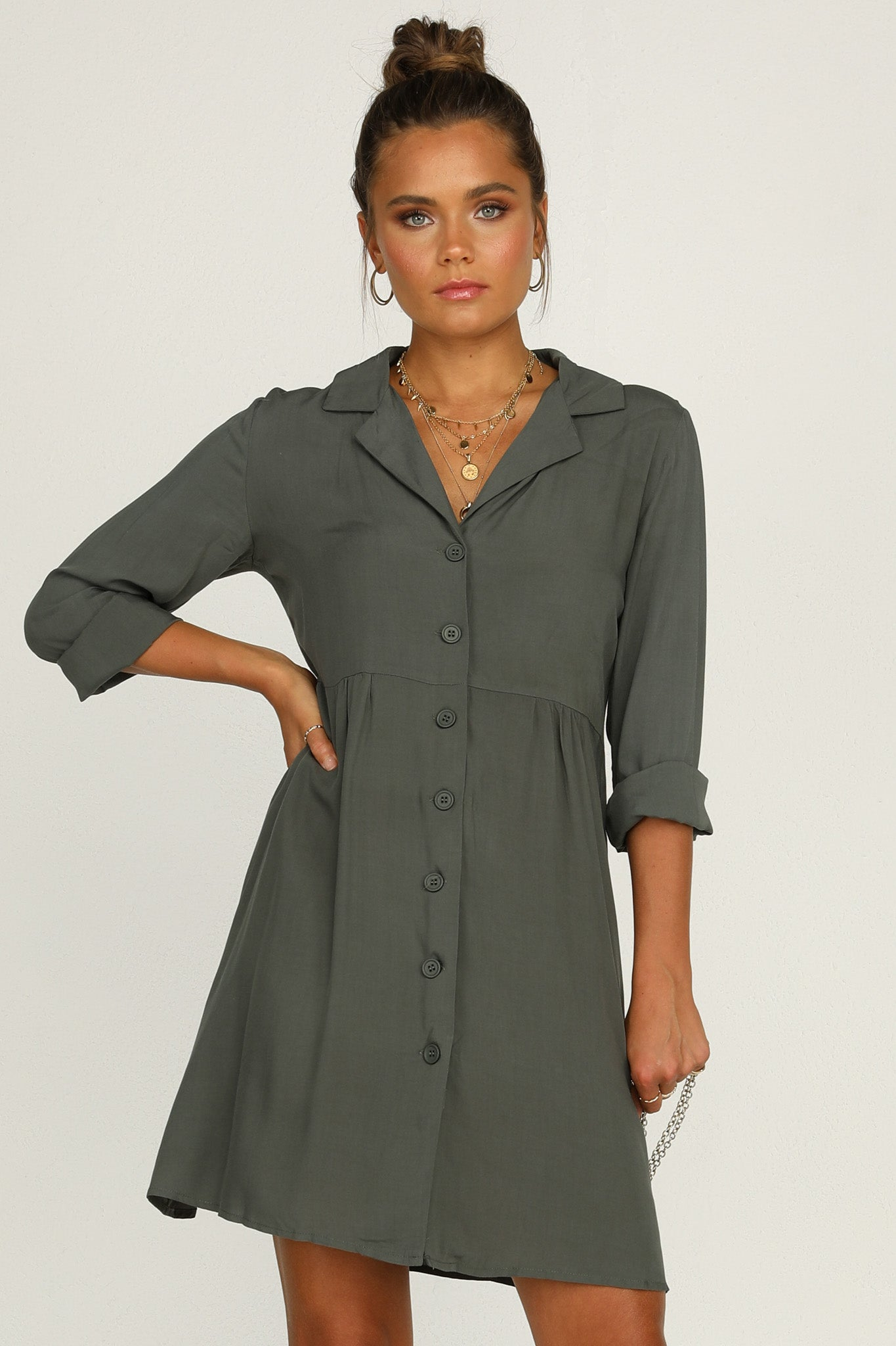 Tarni Shirt Dress (Khaki)