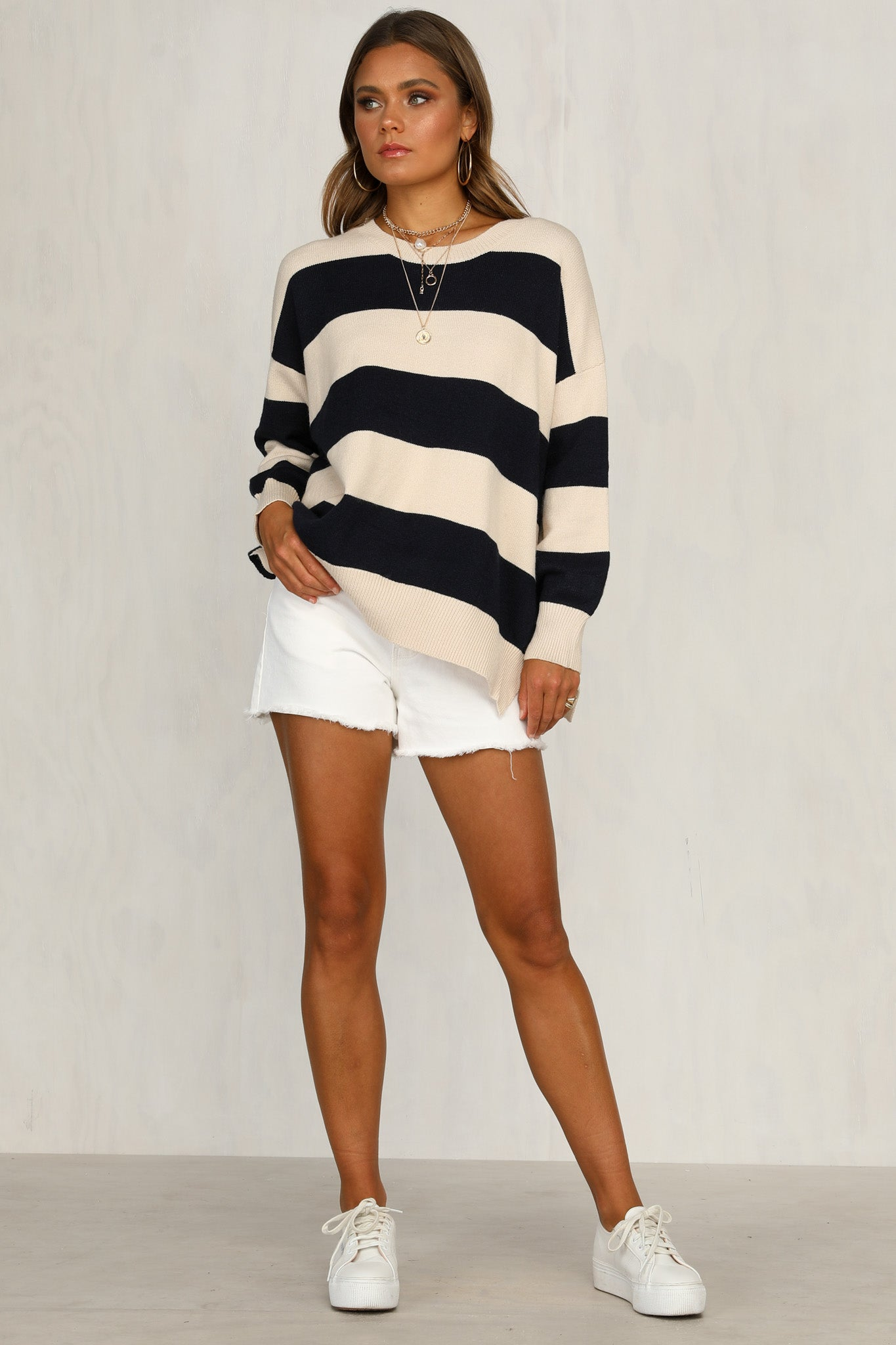 Solitaire Knit (Navy Stripe)