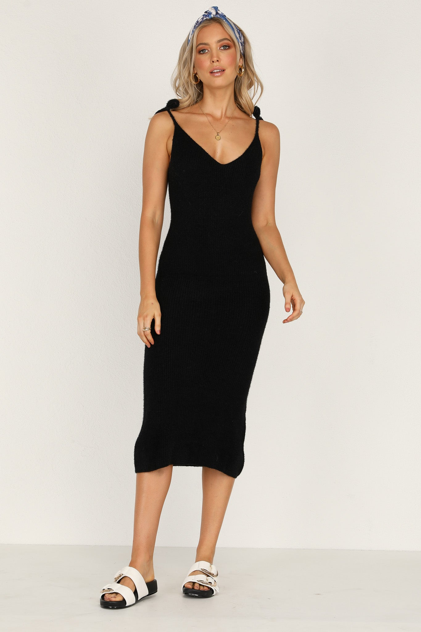 Sunny Side Knit Dress (Black)