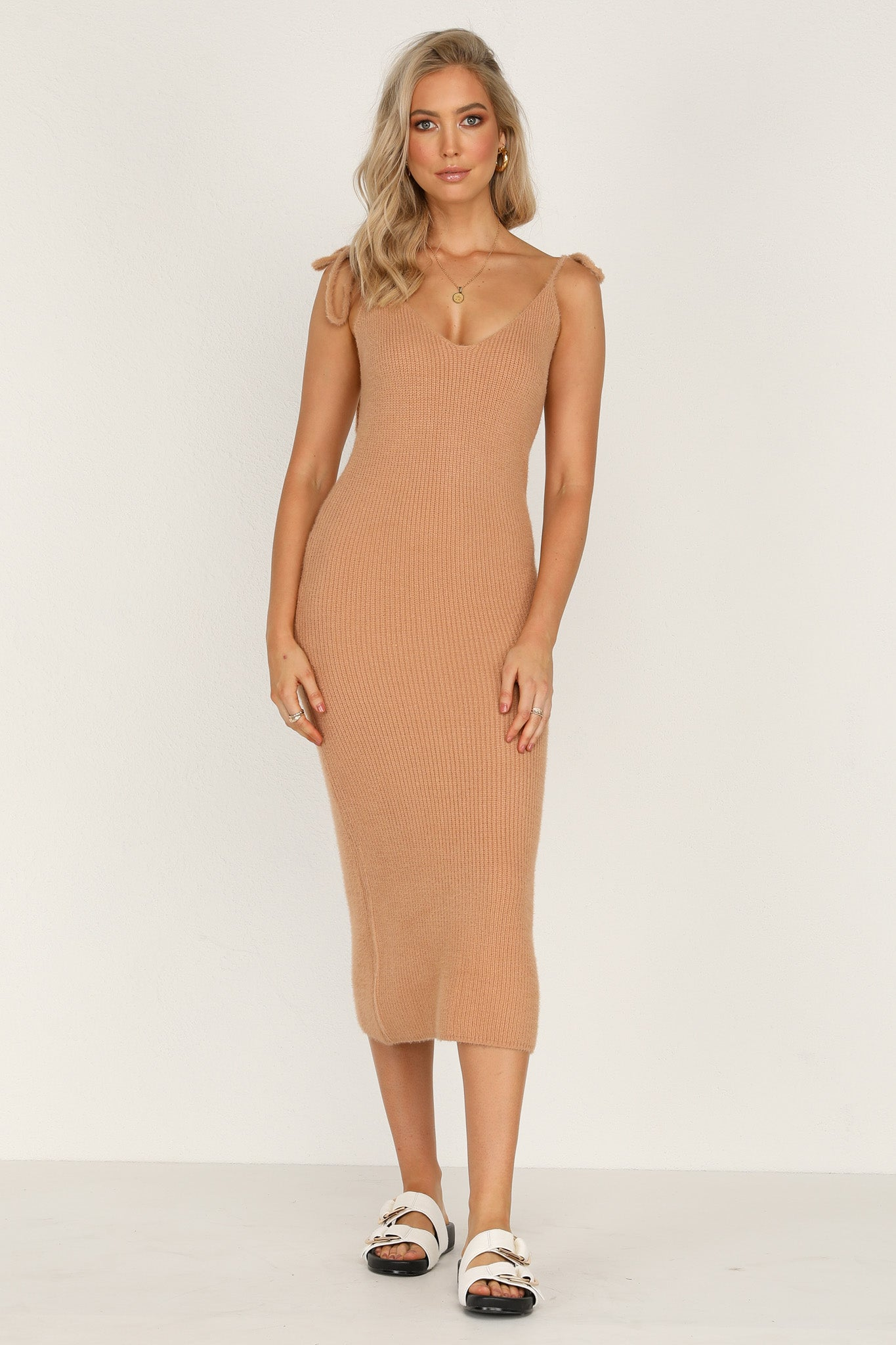 Sunny Side Knit Dress (Tan)