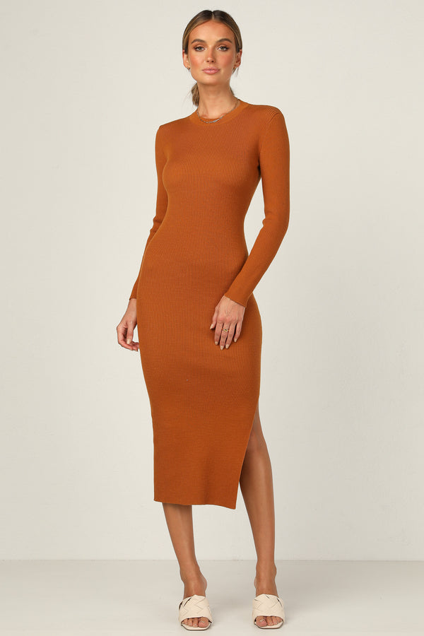 Alexis Knit Dress (Rust)