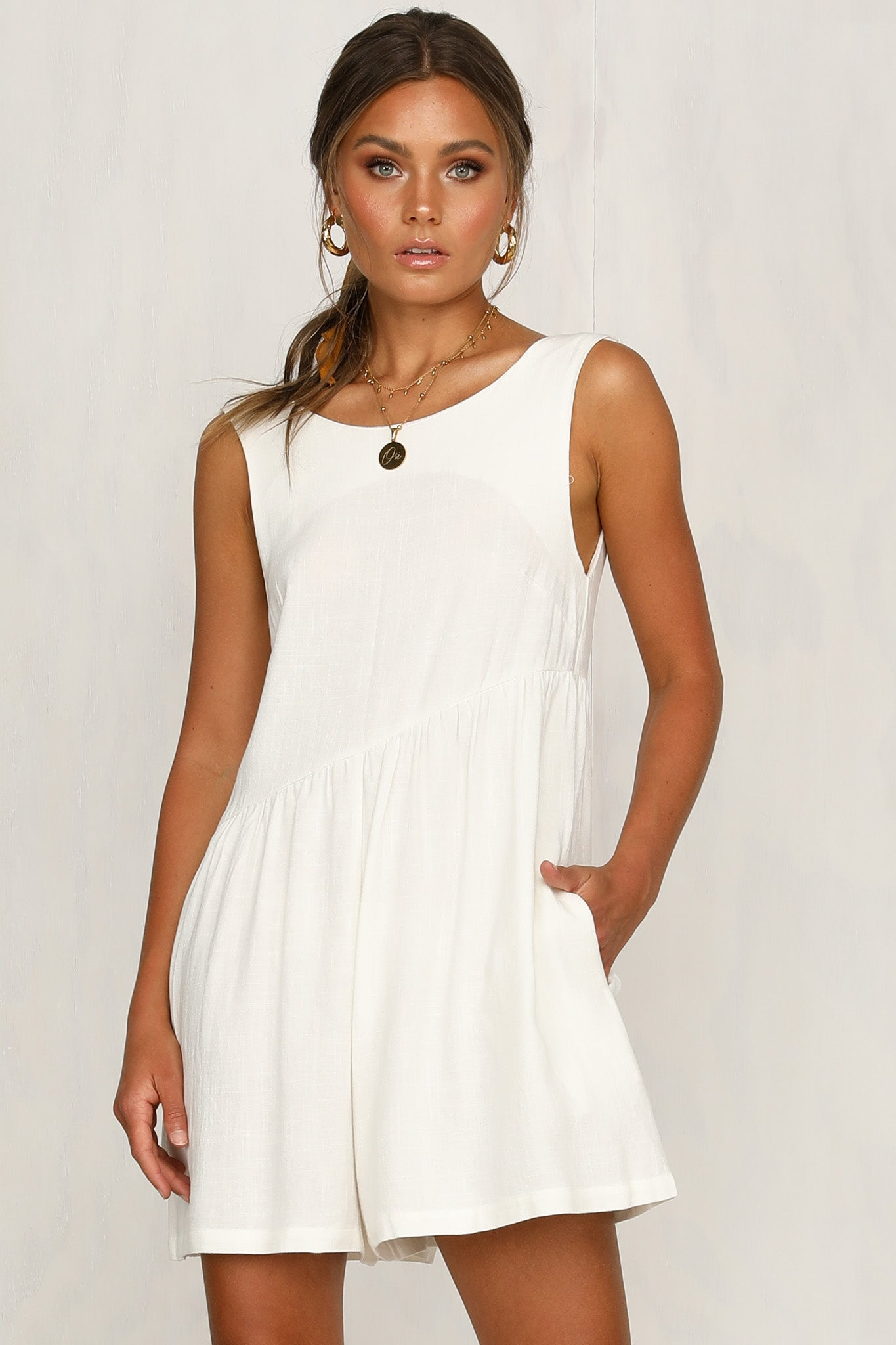 1b00045245 Womanhood Playsuit (White) – RunwayScout