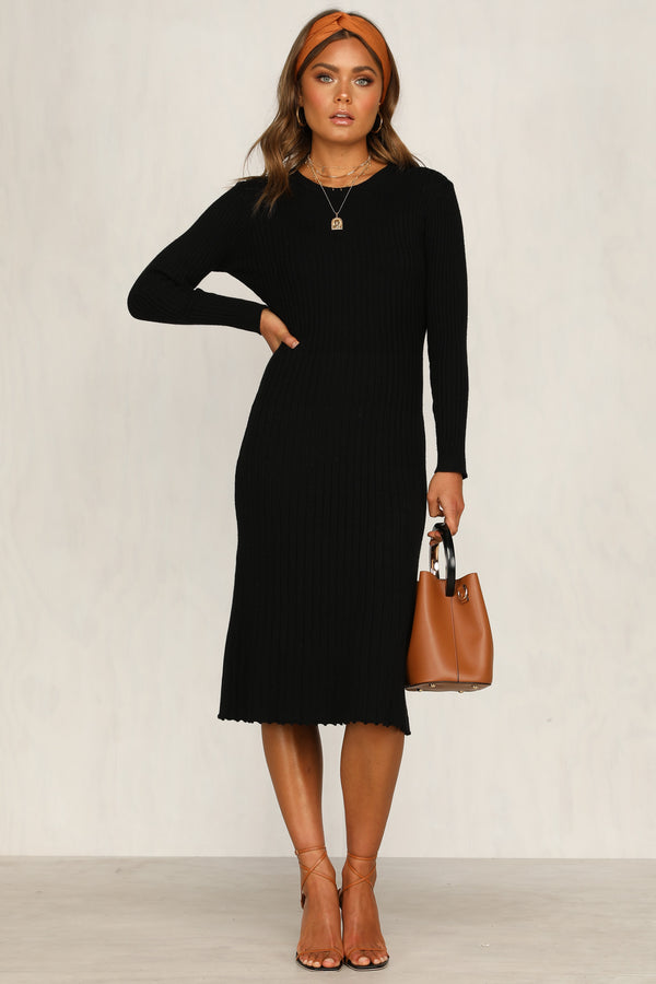 Honey Knit Dress (Black)
