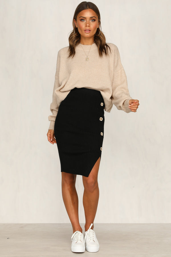 Wildest Dreams Knit Skirt (Black)