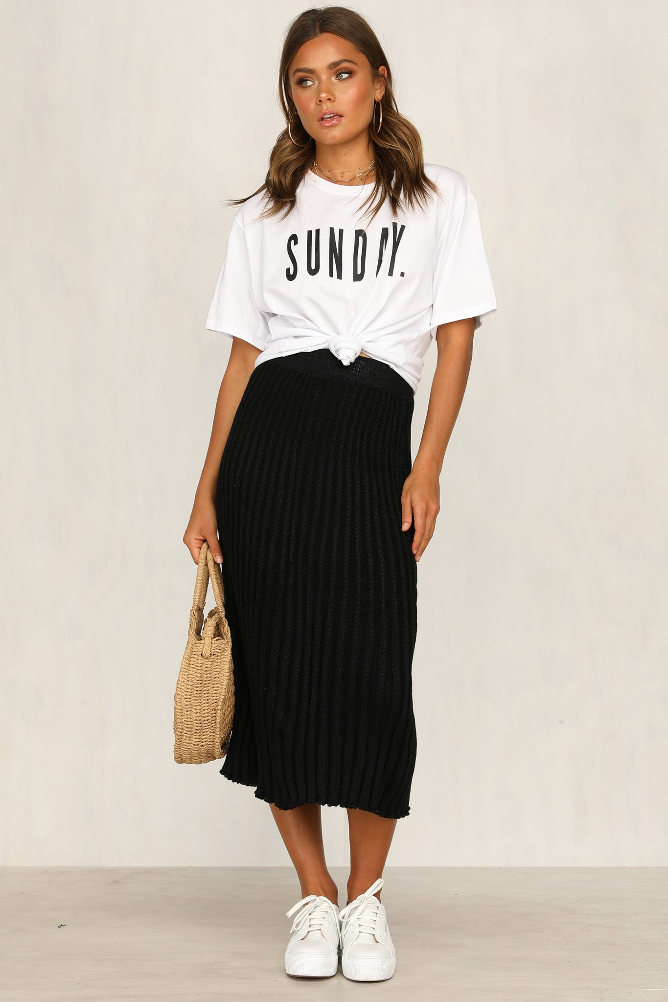 Left Behind Knit Skirt (Black)