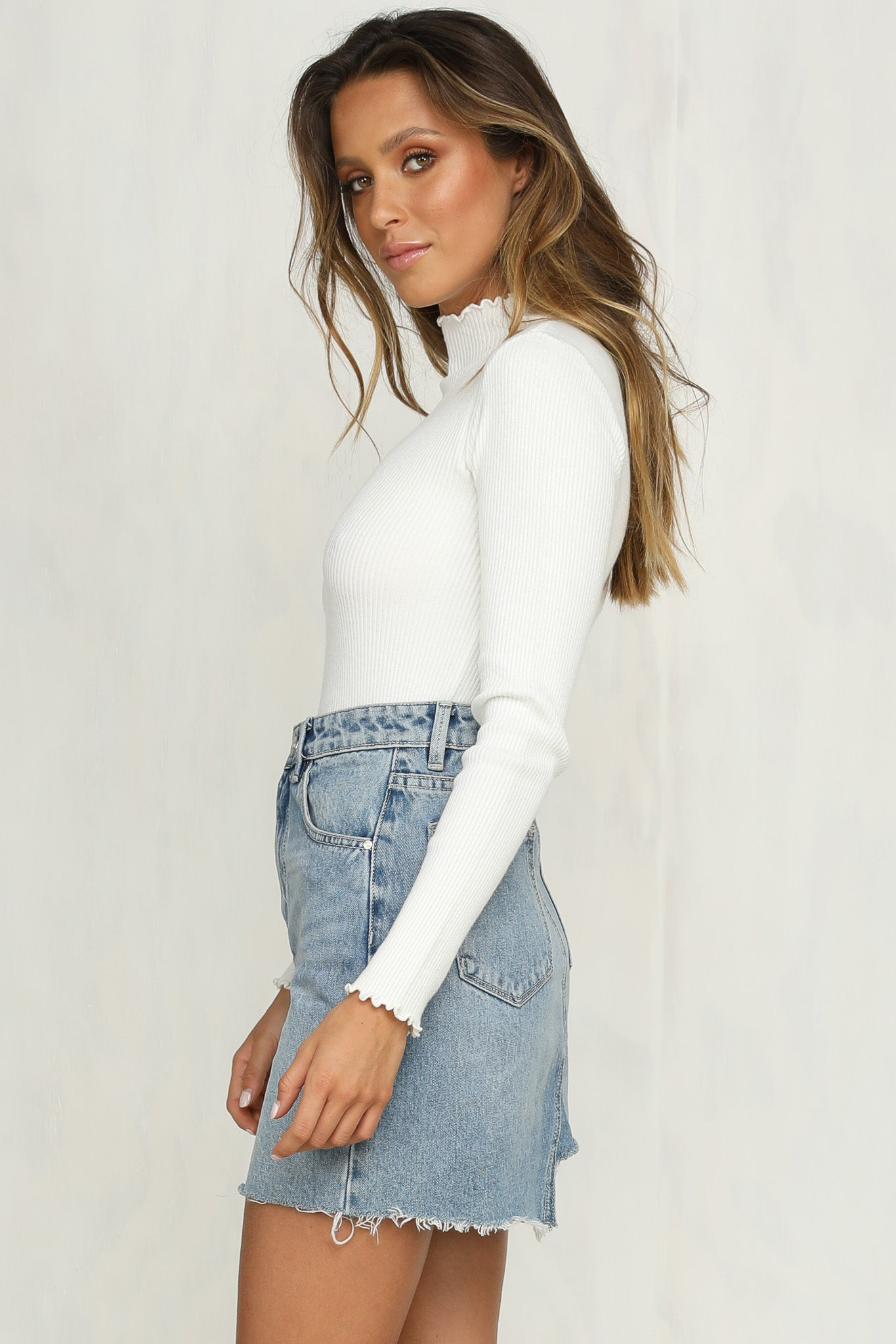Javi Ribbed Knit Top (White)
