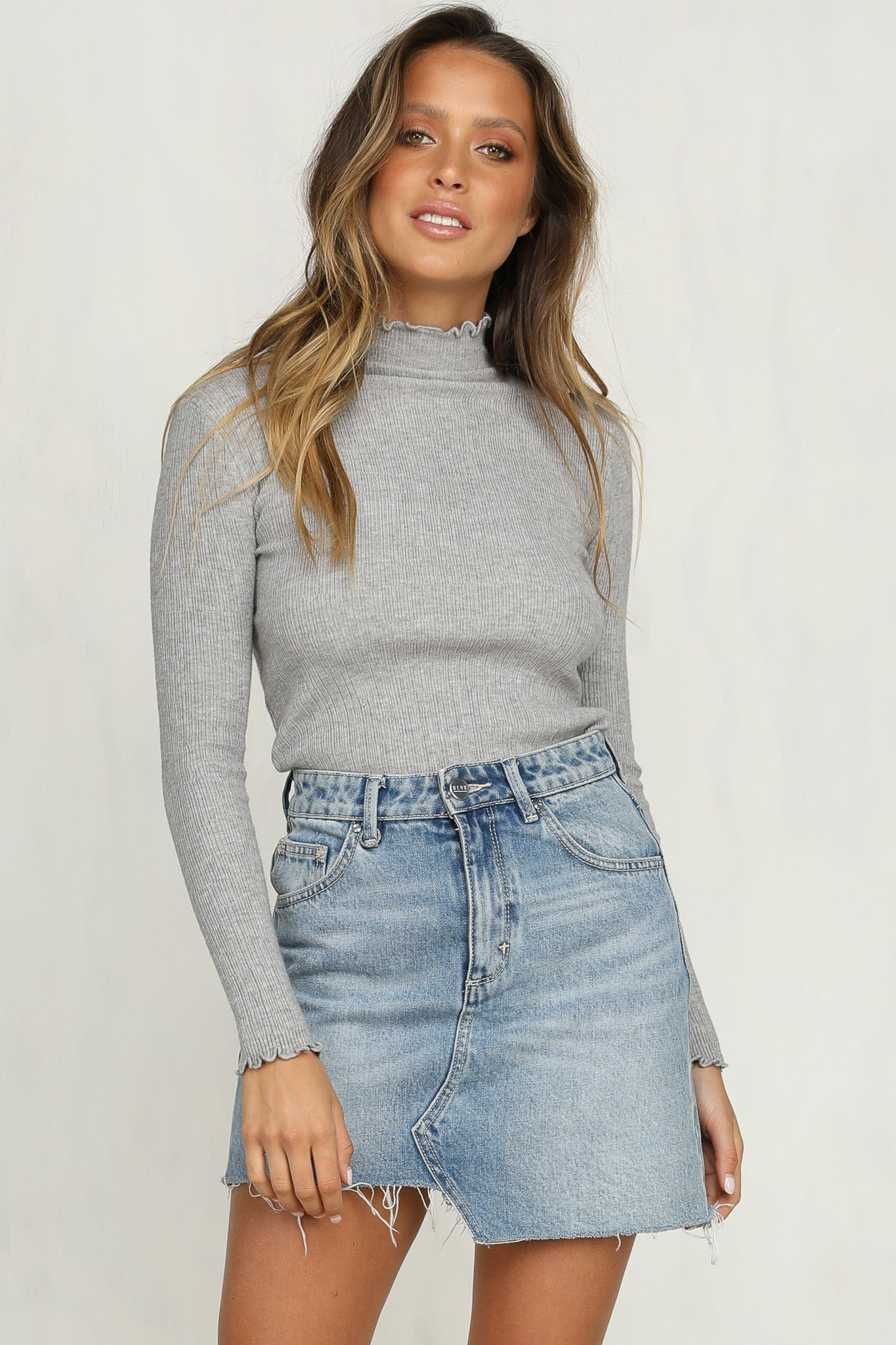 Javi Ribbed Knit Top (Grey)