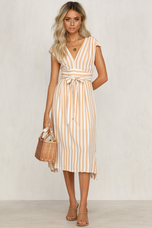 Cindy Dress (Mustard Stripe)