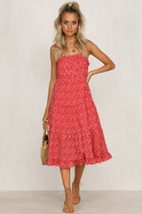 Spanish Summer Dress (Red Floral)