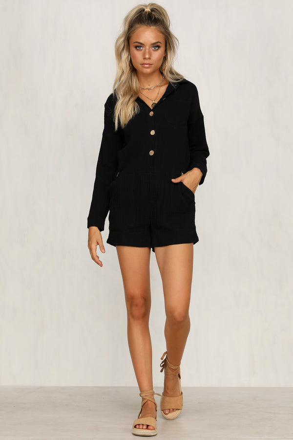 Join The Club Playsuit (Black)