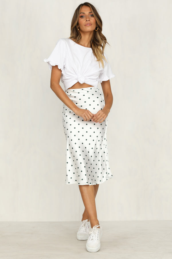Evaporate Midi Skirt (Polka Dot)