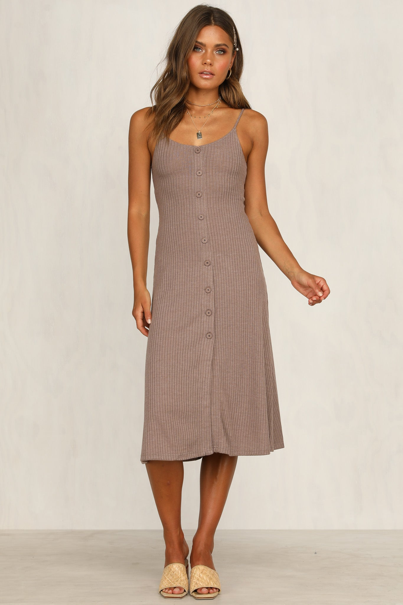 Countess Ribbed Dress (Latte)